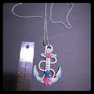 Betsy Johnson Anchor Pendant Necklace Silvertone